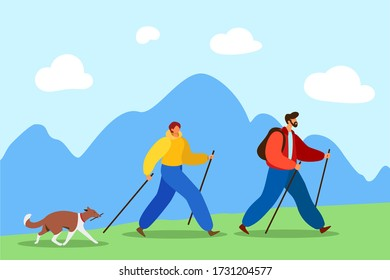 Happy married couple with a dog are engaged in Nordic walking on a background of mountains. Illustration of sports trainings for outdoor activities and healthy lifestyle.