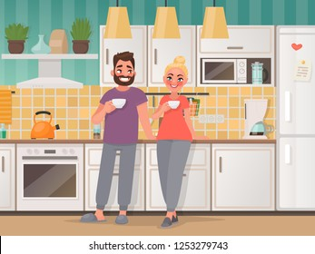 Happy married couple in the kitchen. Man and woman drink tea at home. Vector illustration in cartoon style.