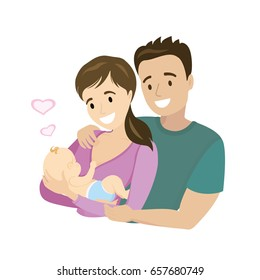 A happy married couple with a newborn baby, cartoon vector illustration
