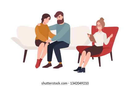 Happy married couple on couch and female psychologist or psychotherapist sitting in front of them. Resolved family conflict, relationship problem, reconciliation. Flat cartoon vector illustration.