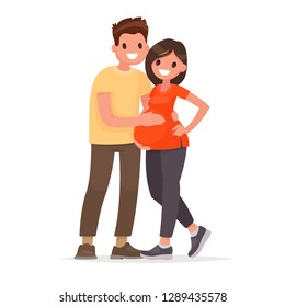 Happy married couple waiting for a child. A man hugs a pregnant woman. Husband and wife. Pregnancy. Vector illustration in flat style