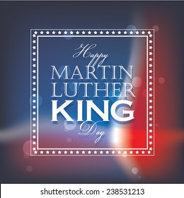 happy martin luther king day greeting lettering, decorative text design isolated on blurred american flag background