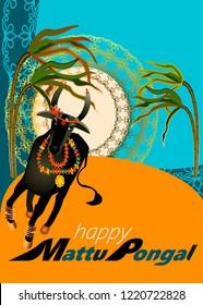 Happy Mattu Pongal greeting background.