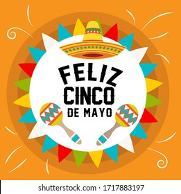 happy May 5 card decorated with maracas, mexican hat and flags on orange background