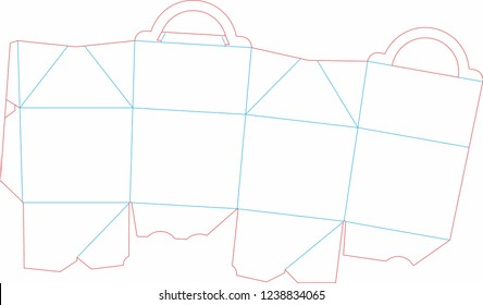 Happy Meal cutting form. Empty shablon, stamp.  Vector black isolated circuit, line on white background. Happy meal  template. Mc donalds cutting form.