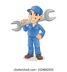 Happy Mechanic Man Holding Huge Wrench for Service, Repair or Maintenance Mascot Concept Cartoon Character Design, Vector Illustration, in Isolated White Background.