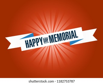 happy memorial day bright ribbon message isolated over a red background