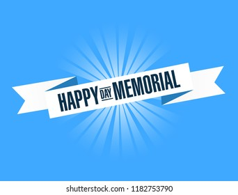 happy memorial day bright ribbon message isolated over a blue background