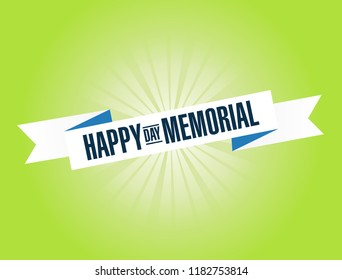 happy memorial day bright ribbon message isolated over a green background