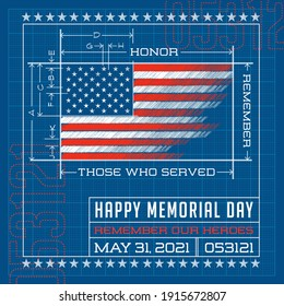 Happy Memorial Day card or banner. American flag design as a blueprint or diagram. Remember our heroes vector illustration. For social media, banners, cards and posters