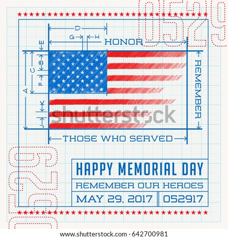 12d3709fc6f3 Happy Memorial Day card or banner. American flag design as a blueprint or  diagram. Remember our heroes vector illustration. - Vector