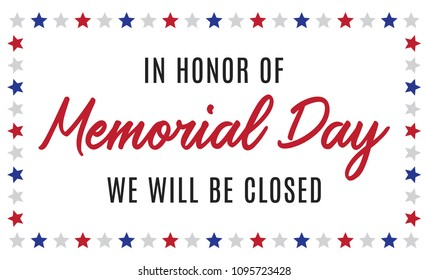 Happy Memorial Day Closed Business Company Sign for Flyers, Posters, Retail, Shop, Prints, Social Media