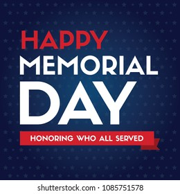 Happy memorial day design poster