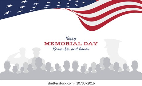 Happy memorial day. Greeting card with flag and soldier on background. National American holiday event. Flat Vector illustration EPS10.