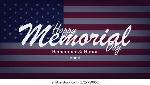 Happy Memorial Day. Greeting card on background with USA flag and lettering typography. National American holiday event. Flat vector illustration EPS10