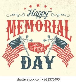 Happy Memorial Day greeting card. Hand-lettering party invitation. Sketch of american patriotic flags and country. Vintage typography illustration