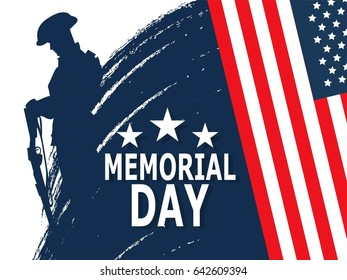 Happy Memorial Day greeting card. Vector illustration. Patriotic American Flag