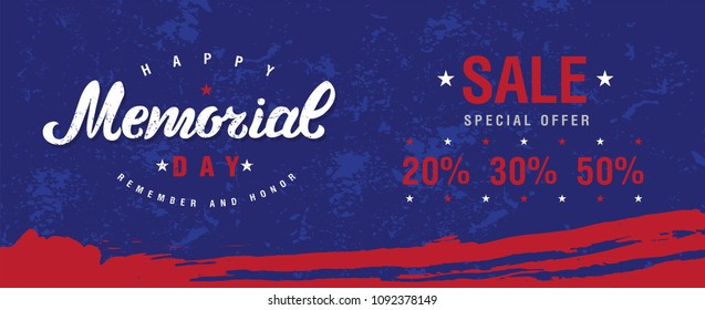 Happy Memorial Day hand drawn lettering design. Memorial Day Sale banner template. Vector illustration.