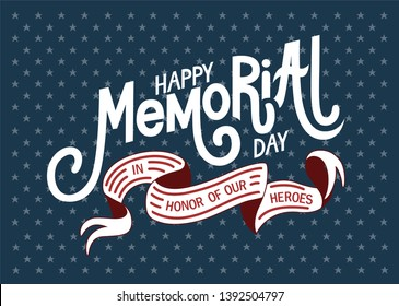 Happy Memorial Day. Hand lettering greeting card with letters in retro style. Hand-drawn vintage typography illustration - Vector