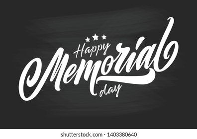 Happy Memorial Day handwritten lettering. Memorial Day typography vector design for greeting cards and poster. Design template celebration. Vector illustration.