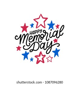 Happy Memorial Day handwritten phrase in vector. National american holiday illustration with color stars. Festive poster, greeting card, invitation etc.