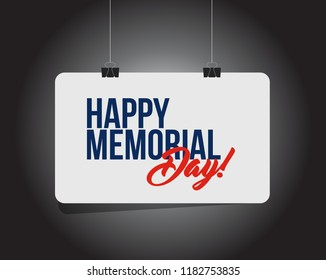 happy memorial day hanging banner message  isolated over a black background