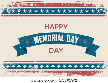 Happy Memorial Day. Home of the brave. Hand lettering greeting card with textured handcrafted letters and background in retro style. Hand-drawn vintage typography illustration. Memorial Day greetings