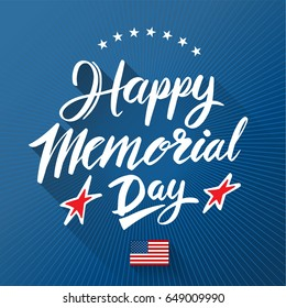 Happy Memorial Day lettering on blue background. Vector illustration.