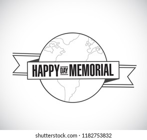 happy memorial day line globe ribbon message concept isolated over a white background