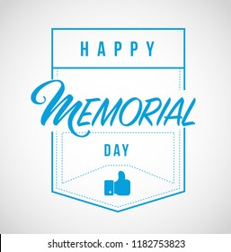 happy memorial day line quote message concept isolated over a white background