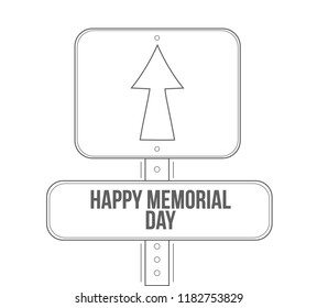 happy memorial day line street sign isolated over a white background