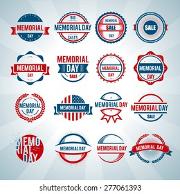 Happy Memorial Day logo vector card celebration poster sale background label banner