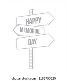 happy memorial day multiple destination line street sign isolated over a white background