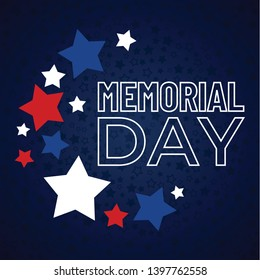 Happy Memorial Day phrase in vector. National american holiday card with red and blue stars and text.  Flat template, concept for design.