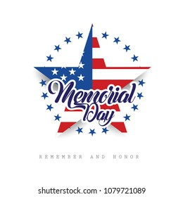 Happy Memorial Day. Remember And Honor. Vector illustration.