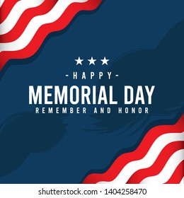 Happy Memorial Day. Remember and honor with united states of america flag, Vector illustration.