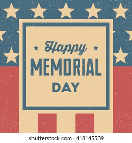 Happy Memorial Day. Retro background