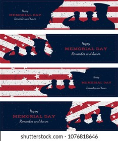 Happy memorial day. Set vintage retro greeting card with flag and soldier with old-style texture. National American holiday event. Flat Vector illustration EPS10.