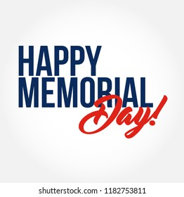 happy memorial day stylish typography copy message isolated over a white background
