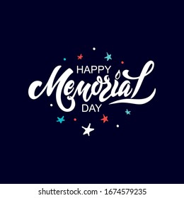 Happy Memorial Day text. Blue and red stars illustration. Hand drawn lettering for Memorial Day in the USA. Modern brush calligraphy. Typography design for greetings card, banner, poster. Vector EPS10