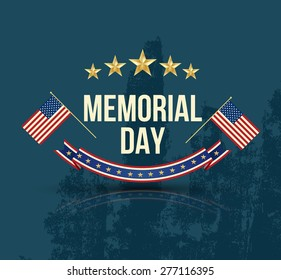 Happy Memorial Day with texture, Stars  Stripes and flag. Vector illustration.