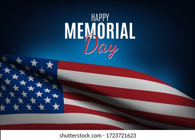 Happy Memorial Day with USA flag. Vector illustration.