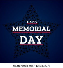 Happy Memorial Day vector concept. National american holiday card with big star and text. Festive poster or banner. Flat template for design.