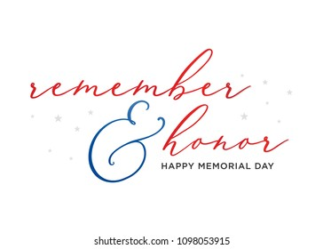 Happy Memorial Day Vector Text Typographic Background