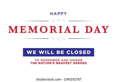 Happy Memorial Day Vector Text Illustration Background