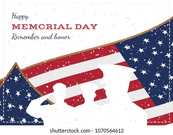 Happy memorial day. Vintage retro greeting card with flag and soldier with old-style texture. National American holiday event. Flat Vector illustration EPS10.