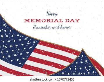 Happy memorial day. Vintage retro greeting card with flag and old-style texture. National American holiday event. Flat Vector illustration EPS10.