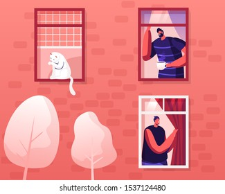Happy Men Neighbors Peeking Out of Windows with Curtains Greeting Each Other Drinking Coffee at Morning, White Cat Sitting on Windowsill, Washing himself. Comfort Life Cartoon Flat Vector Illustration