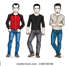 Happy men standing in stylish casual clothes. Vector set of beautiful people illustrations. Lifestyle theme male characters.
