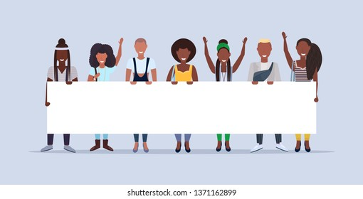 happy men women standing together holding empty placard sign board demonstration concept smiling african american people male female cartoon characters full length horizontal